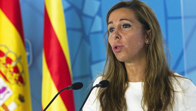 La presidenta del PPC, Alicia Sánchez-Camacho, en rueda de prensa en la sede del PP en Barcelona