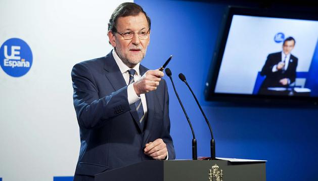 El presidente del Gobierno, Mariano Rajoy, en la rueda de prensa ofrecida en Bruselas