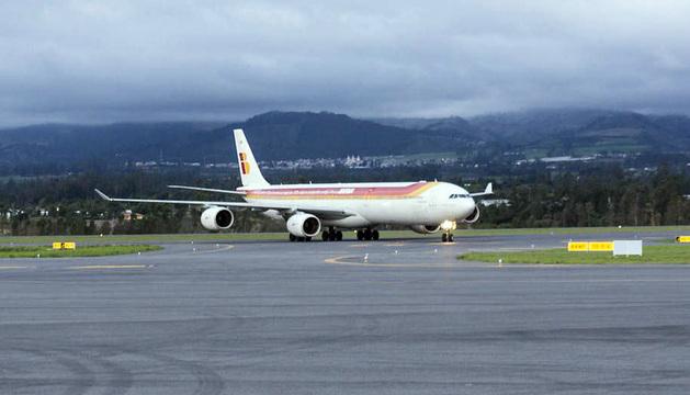 Llegada a Perú del avión de Iberia que cubrió la ruta entre Madrid y Quito.