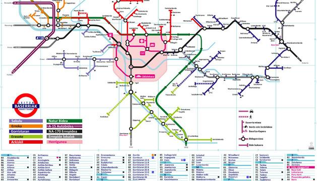 Localizador de todos los caseríos de Leitza tomando como base el diseño del mapa del metro de Londres