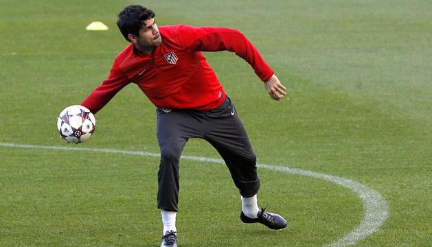 Diego Costa, en el entrenamiento con el Atlético.