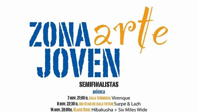 Cartel de las semifinales de Música del certamen Zona Arte Joven