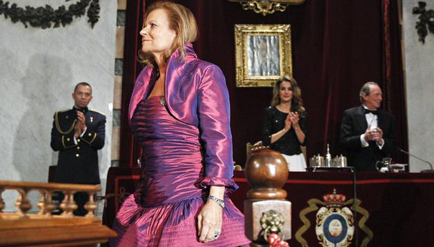 La novelista y filóloga Carme Riera durante el acto de su ingreso en la Real Academia Española