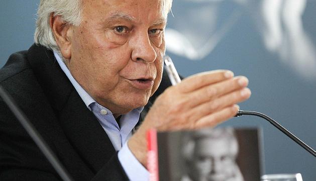 El expresidente del Gobierno Felipe González, durante su intervención.