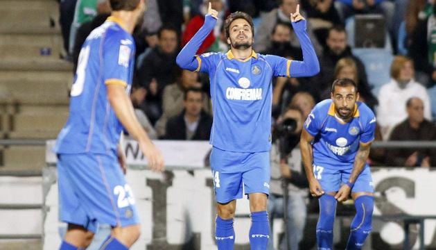 Pedro León celebra el gol del Getafe
