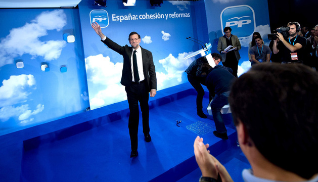 El presidente del Gobierno, Mariano Rajoy, durante la clausura hoy de la vigésima reunión interparlamentaria del Partido Popular.