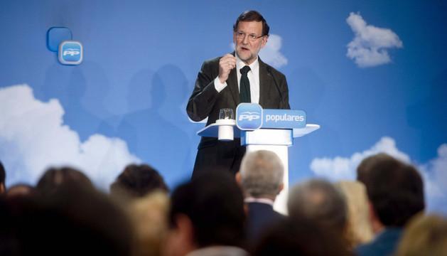 El presidente del Gobierno, Mariano Rajoy, durante su intervención en la clausura de la reunión interparlamentaria del Partido Popular que se ha celebrado en Córdoba