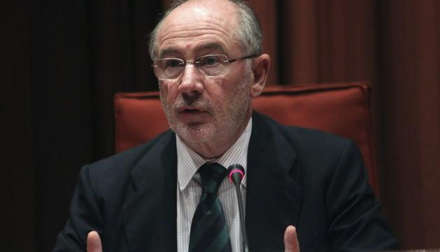 El expresidente de Bankia Rodrigo Rato, durante su comparecencia en el Parlament de Cataluña