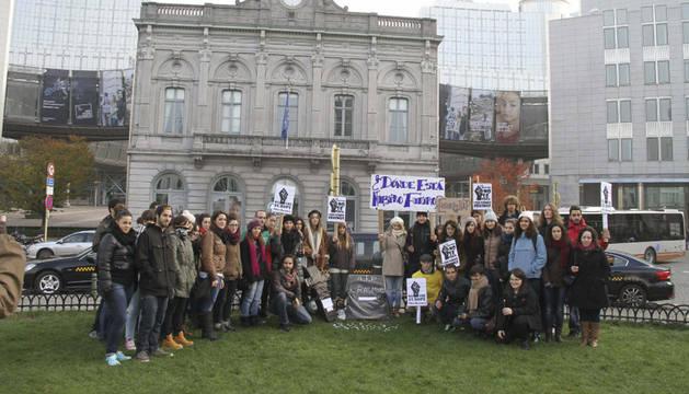 Erasmus españoles, en Bruselas, en la protesta de este sábado