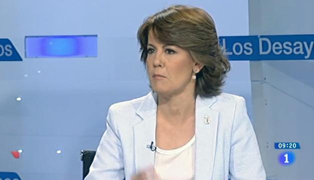 Yolanda Barcina, este martes durante su participación en los Desayunos de TVE.