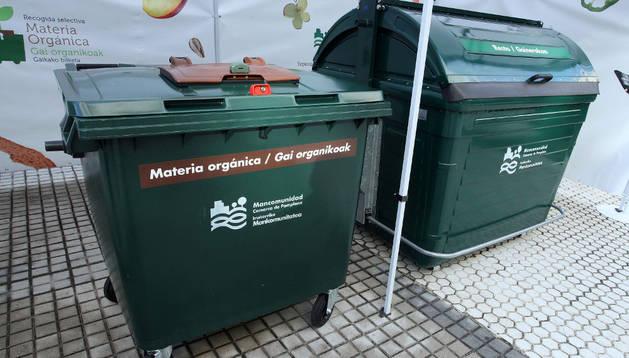 Uno de los 78 contenedores de materia orgánica de Barañáin.