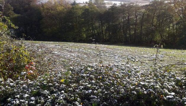 Un fina capa de nieve en las cercanías de Arraitz.