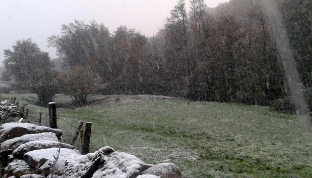 La nieve pinta de blanco la zona de Lantz.