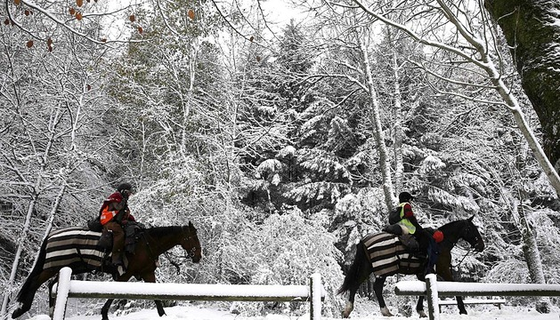 Temporal de lluvia y nieve en Navarra