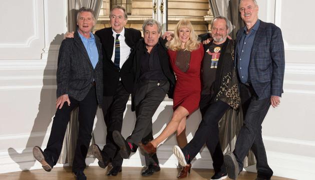 Los británicos Monty Python, ante la prensa el pasado 21 de noviembre