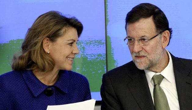 Mariano Rajoy, junto a María Dolores de Cospedal, este lunes en el Comité Ejecutivo Nacional del PP