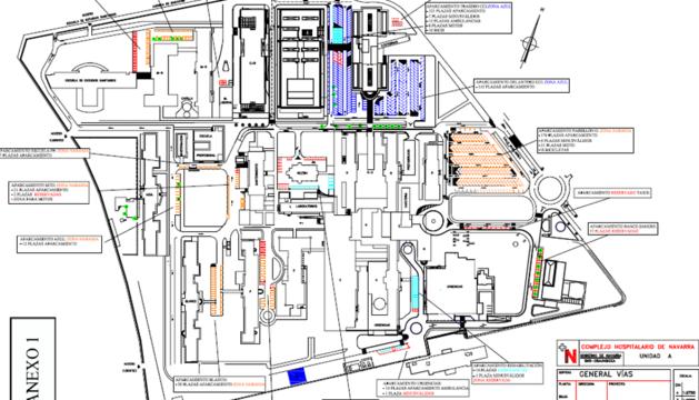 Plano del aparcamiento de hospitales con las distintas zonas