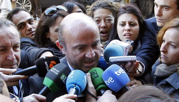 El ministro Luis de Guindos a su llegada al Foro este martes