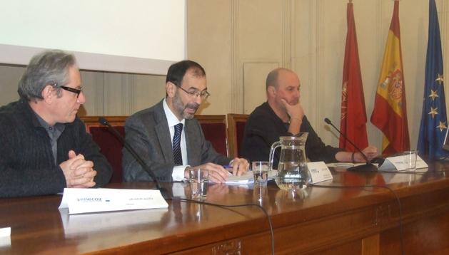 Javier Asín, Carlos Erce y Alberto Jiménez en la presentación del encuentro.