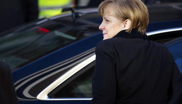 La canciller alemana, Angela Merkel, a su llegada a la sede del Partido Socialdemócrata (SPD) en Berlín.