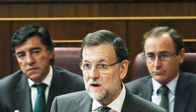El presidente del Gobierno, Mariano Rajoy, durante su intervención en la sesión de control al Ejecutivo que celebra el Congreso de los Diputados.