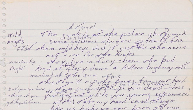 Manuscrito de 'Born to run', a subasta