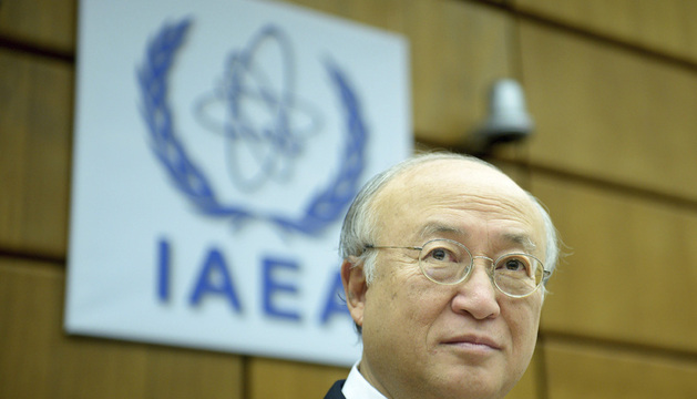 El director general del OIEA, Yukiya Amano, a su llegada al pleno celebrado este jueves en Viena