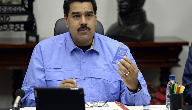 El presidente venezolano, Nicolás Maduro, en el Consejo de Ministros de este viernes.