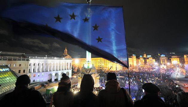 Concentración en la plaza de la Independencia, en el centro de Kiev.