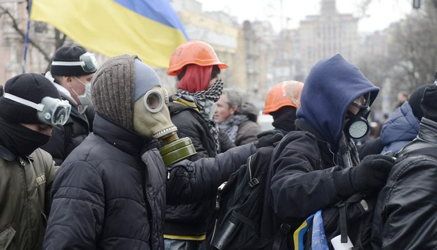 Manifestantes antigubernamentales, este domingo en las protestas de Kiev