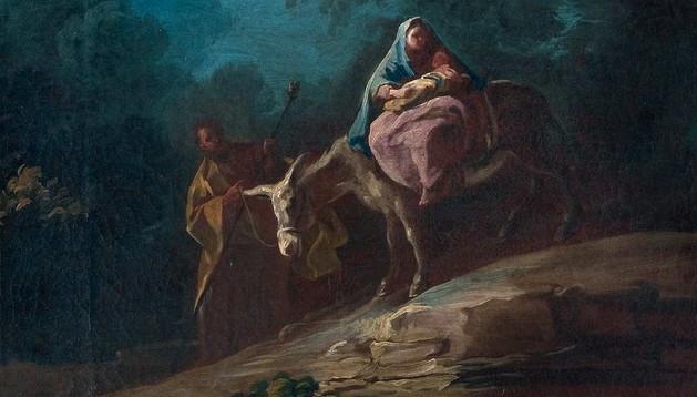 'Huida a Egipto' (arriba) y 'Muerte de San Alberto de Jerusalén' (abajo), dos lienzos que han permanecido ocultos en un convento de las Carmelitas de Cuenca y que son atribuibles a la obra temprana del artista Francisco de Goya