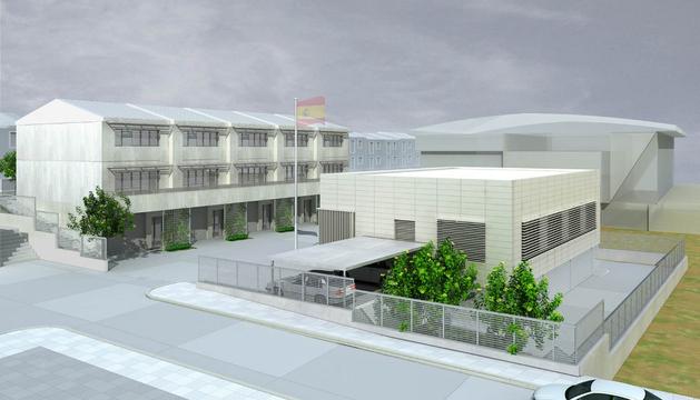 Fotocomposición de cómo quedará el cuartel con las casas a la izda