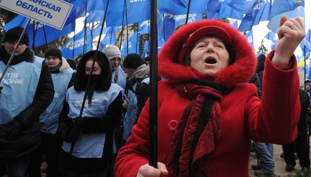 Protestas de ciudadanos en las calles de Kiev, Ucrania