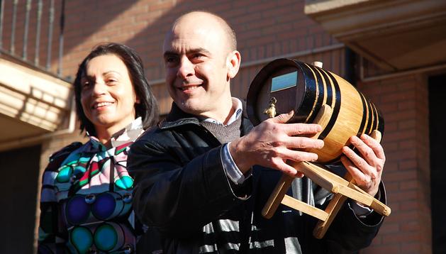 El cocinero navarro Koldo Rodero, tras recibir el premio en Murchante