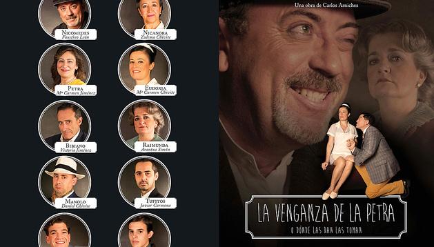 Cartel anunciador de la obra con el elenco de actores