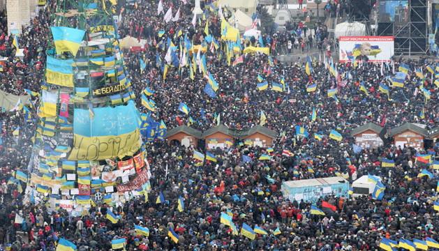 Manifestantes en Kiev, en la Plaza de Independencia