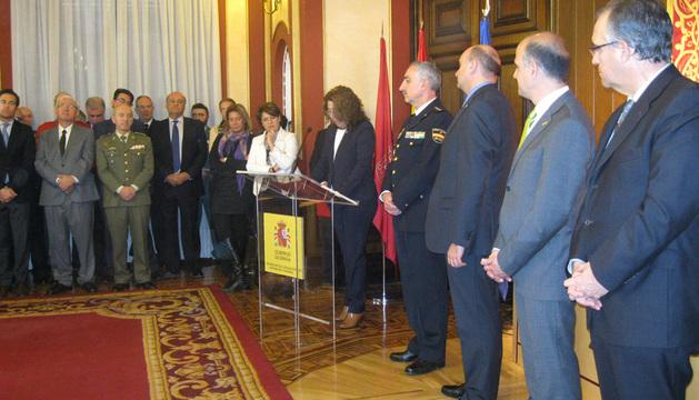 La delegada del Gobierno en Navarra, Carmen Alba, durante el acto celebrado este lunes.