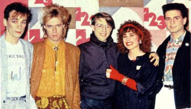 El grupo musical Olé Olé, con Vicky Larraz, en una imagen de los 80