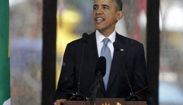 Barack Obama pronuncia su discurso en el funeral de Mandela.