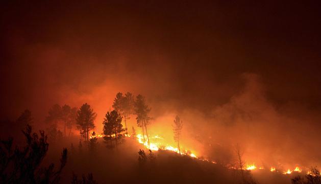 Un incendio forestal en el Parque Natural de O Xurés, en Ourense, mantiene en vilo al Ayuntamiento de Muíños.