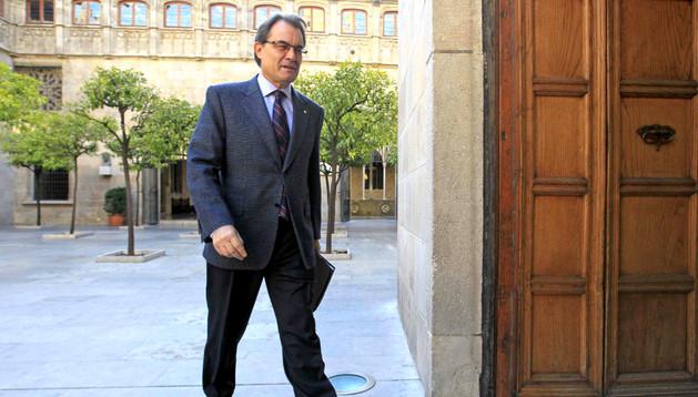 Artur Mas, entrando al Palau de la Generalitat