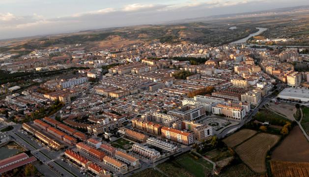 Vista aérea del casco urbano de Tudela