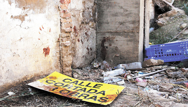 Solar de Tudela donde fue abandonado el herido tras recibir tres hachazos