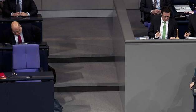 Angela Merkel, este miércoles en el Bundestag.