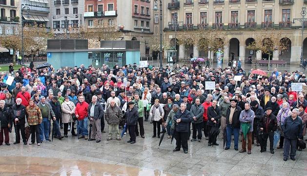 Manifestación de pensionistas en Pamplona, este jueves