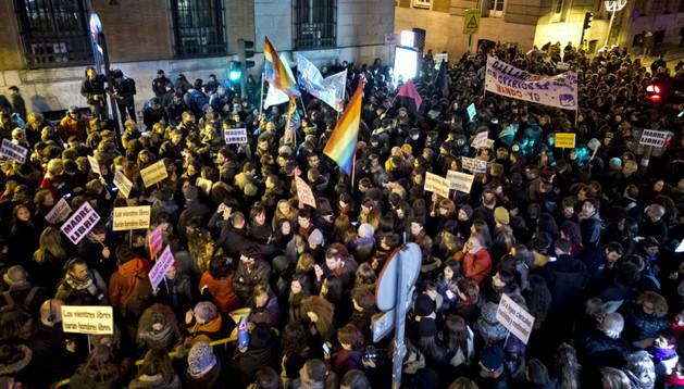 Concentración este viernes frente al Ministerio de Justicia, en Madrid, contra el anteproyecto de reforma de la ley del aborto aprobado por el Gobierno