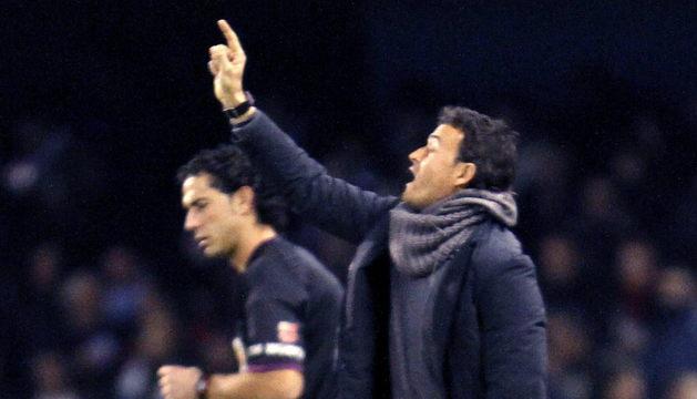 Luis Enrique, en el partido ante Osasuna con el Celta