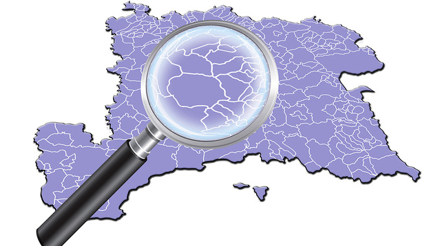 Mapa con las demarcaciones de Navarra