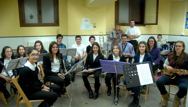 Algunos de los integrantes de la nueva banda de música de Caparroso