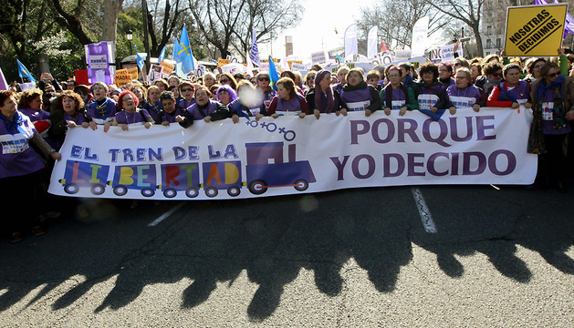 Cabecera de la manifestación celebrada este sábado en Madrid
